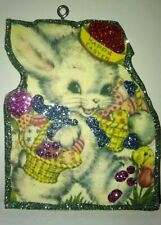 Glittered Wood Easter Ornament Easter Bunny with Basket