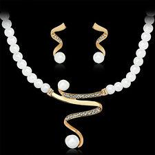 Women Bridal Wedding Party Prom Pearl Rhinestone Necklace Earrings Jewelry Set N