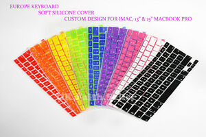 """Silicone Europe Keyboard Cover Protector for Apple iMac, 13"""" & 15"""" Macbook Pro"""