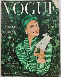 1955 50s vintage Vogue spring fashion & beauty magazine Norman Parkinson