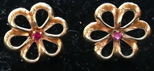 Mid-Century 14K Flower Earrings with Ruby Centers