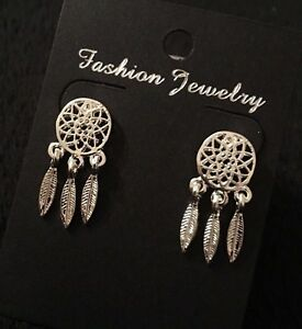 Dreamcatcher Earrings Dangle Stud Silver Ethnic Native American Feather Dream UK