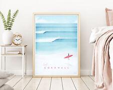 Surf Cornwall Travel Art Poster, Modern Wall Art Print