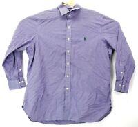 Polo Ralph Lauren Mens 17.5 Long Sleeve Button Front Plaid Cotton Shirt Purple