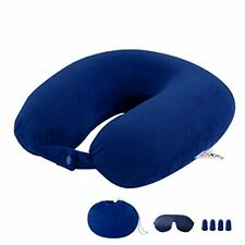 Neck Pillow Memory Foam Airplane Travel Pillow With 2 Pair of Earplugs and Sleep