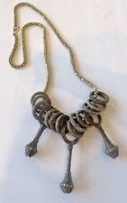 and Currency Rings on Gf Chain African Design Necklace, Vintage Bronze Bells