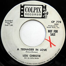 LOU CHRISTIE 45 A Teenager In Love / Back Track PROMO Teen POP Colpix 1965 e1667