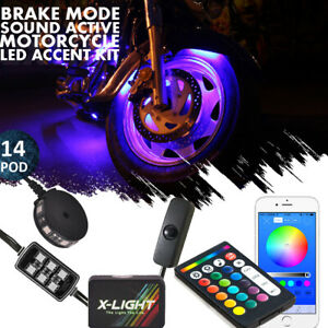 14x Motorcycle LED Light Kit Pod Multi-Color Accent Glow Neon Ground Bluetooth