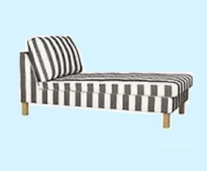 IKEA Karlstad Rannebo Black White Stripe FREE-Standing Chaise Lounge Cover NEW