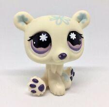 Littlest Pet Shop White Blue Polar Bear Purple Eyes #470 Preowned LPS Hasbro