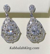 Platinum Sterling Silver Pave White Sapphire Halo Pear Shape Chandelier Earrings