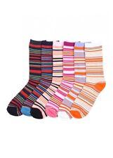 6 Pairs Women Comfort Socks Girls Striped Design Pattern Crew Pack 9-11 Lot