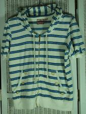 JUICY COUTURE Short-Sleeve Terry Sweatshirt XL White Blue Metallic Stripe Hoodie