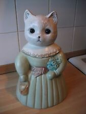 CAT COOKIE JAR COLLECTIBLE CERAMIC/ COTTAGE CHIC MISS KITTY/ 11 ''Tall