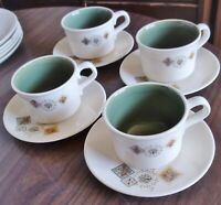 Nice Set of 4 Taylor Smith Taylor Brocatelle Tea Cups & Saucers, Ever Yours