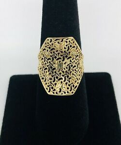 10K Yellow Gold Butterfly Filigree Ring Size 7