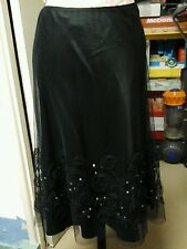 AUGUST SILK LADIES BLACK NET SKIRT WITH FLORAL DETAIL & SEQUINS  SIZE 10/12
