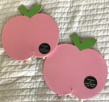 """Lot x 2! New Wooden Pink Apple Chalkboard  9"""" x 9.5"""" With Folding Easel Chalk"""
