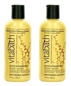 LOT 2 Vitabath Scrumptious Vanilla Sugar with Shea Butter BODY WASH 12 Oz Ea