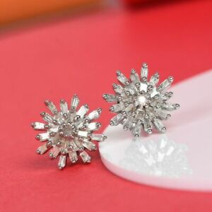 TJC White Diamond Stud Earrings In Platinum Plated Sterling Silver
