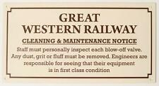 GWR Enamel effect small sign cleaning and maintenance. Replica railway humour