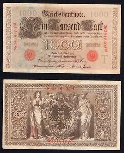 Germania 1000 mark Reichsbanknote 1910 BB/VF  B-01
