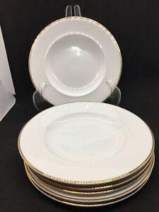 "POTTERY BARN Set Of 6 White W/ Gold Rim 7 6/8"" SALAD PLATES. Japan"