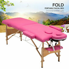 """84""""L Portable 2 Sections Massage Table Facial Spa Bed Tattoo w/ Carry Case Pink"""
