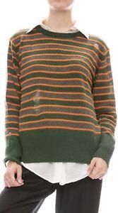 Raquel Allegra Green Orange Stripe Cashmere Raglan Sweater 2