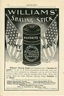 1898 Williams Shaving Stick Ad Used by US Army & Navy Patriotic Theme Flags