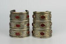 Pair of Wide Antique Turkmen Turkoman Tribal Silver and Carnelian Bracelet Cuffs