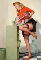 Acqua Girl Pin Up Targa di Latta Poster Metallo Scudo ad Arco 20 x 30 CM