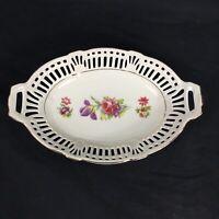 Lion Mark US Zone 8 Reticulated Dish Pierced Porcelain Basket Bowl VTG 1940s