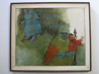 MYSTERY ARTIST PAINTING LARGE ABSTRACT POP MODERNISM  EXPRESSIONISM VINTAGE