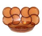 Vintage 60s Mid Century Modern MCM Set of 3 Serving Trays Bowl Amber Brown Dansk
