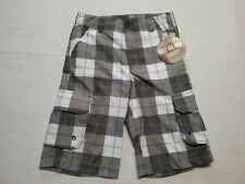 OCEAN PACIFIC (OP) Boys Hybrid Shorts Gray Plaid Cargo Trunks Wet/Dry Sz-10* NWT