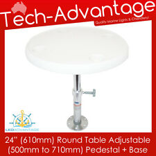 """BOAT WHITE REMOVABLE 24"""" (610MM) ROUND TABLE ADJUSTABLE HEIGHT PEDESTAL & BASE"""