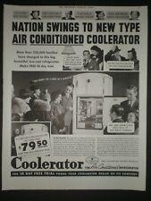 1937 COOLERATOR AIR CONDITIONED REFRIGERATOR trade print ad