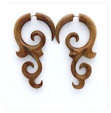 Fake Gauges Koa Wood Earrings tribal style fake piercings handmade faux gauge