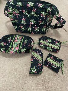 Vera Bradley New Hope Shoulder Bag Med/Lg Black Floral/Pink Bows w/Accessories