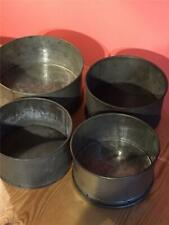 More details for 4 x antique metal loose bottomed caked tins 6 1/4