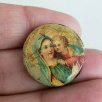 Antique Mary & Child Jesus Religious Celluloid Pinback Button Pin 7/8""