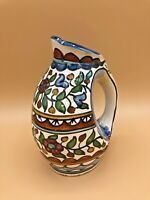 Handpainted Vintage Small Clay Pitcher Pottery Jug Floral Flaw Glazed
