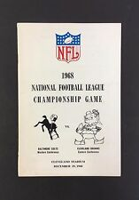 1968 NFL Championship Game Media Guide Colts Beat Browns Football Vintage