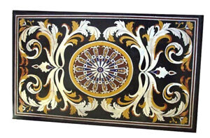 3'x2' Black Marble Dining Table Top Inlay Mosaic Stone Floral Hallway Decor B822