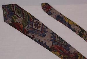 Brittany Bay Floral Aztec Rayon Necktie Vintage Tie Khaki Jewel Tones FREE SHIP