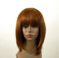 perruque AFRO femme 100% cheveux naturel châtain clair cuivré ISA 01/30