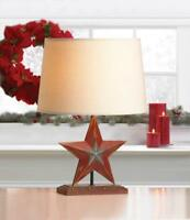 shabby farmhouse rustic country RED STAR bedside end Table Lamp light & shade