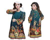 Women Indian Pakistani Kurti Kurta Cotton Designer Digital Print Tunic Tops