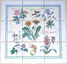 "Herb Ceramic Tile Mural 9 pcs 4.25"" Flower Garden Kiln Fired  Back splash Decor"